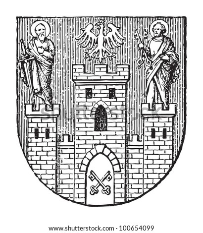 Poznan coat of arms (city in Poland) / vintage illustration from Meyers Konversations-Lexikon 1897