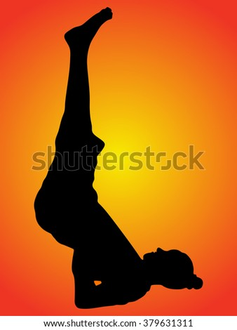 Practicing Yoga exercises. Young man doing Yoga exercises, Pose name: Shoulderstand - Sarvangasana - Viparita Karani  - stock vector
