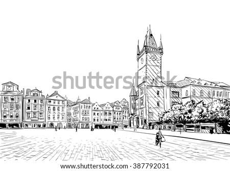 Prague city hand drawn sketch. European city, vector illustration
