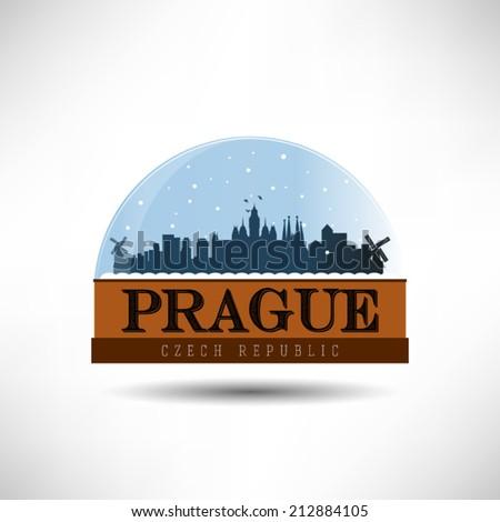 Prague, Czech Republic, city skyline silhouette in snow globe. Vector design. - stock vector