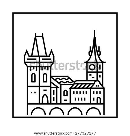 Prague icon. Vector city skyline and buildings - stock vector