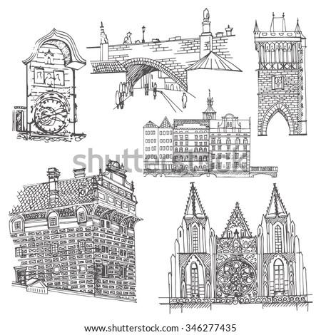 Prague.  Vector sketch old town. Hand drawn buildings, bridge and clock. - stock vector