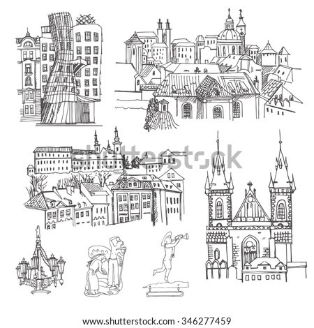 Prague. Vector sketch old town. Hand drawn public and religious buildings, urban elements. - stock vector