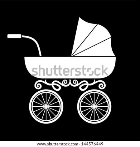 pram - baby carriage - stock vector