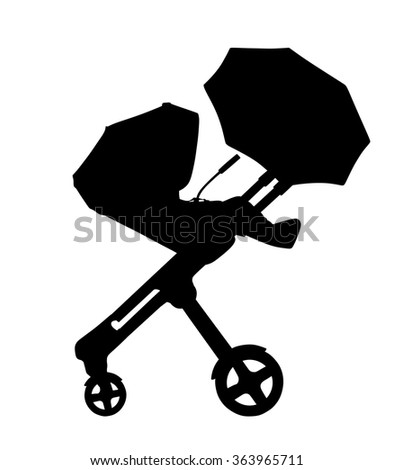 pram with baby carriage.baby cart.vector illustration. - stock vector