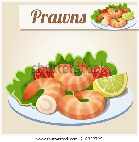 Prawns. Detailed Vector Icon. Series of food and drink and ingredients for cooking. - stock vector