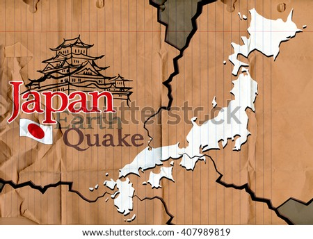 Pray for Japan ,kyushu, kumamoto castle,Earth Quakw ,drawing style Pen on Paper Notebook.Vector illustration. - stock vector