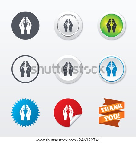 Pray hands sign icon. Religion priest faith symbol. Circle concept buttons. Metal edging. Star and label sticker. Vector - stock vector