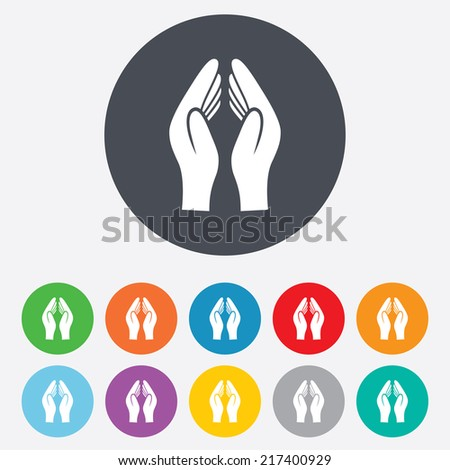 Pray hands sign icon. Religion priest faith symbol. Round colourful 11 buttons. Vector - stock vector