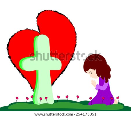 Prayer at the Cross-This is a vector of a little girl praying at the Cross - stock vector