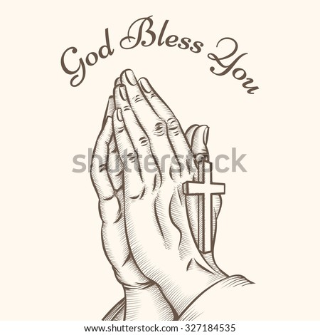 Prayer hand with cross. Religious and god, pray and holy, spirituality and crucifix, vector illustration - stock vector