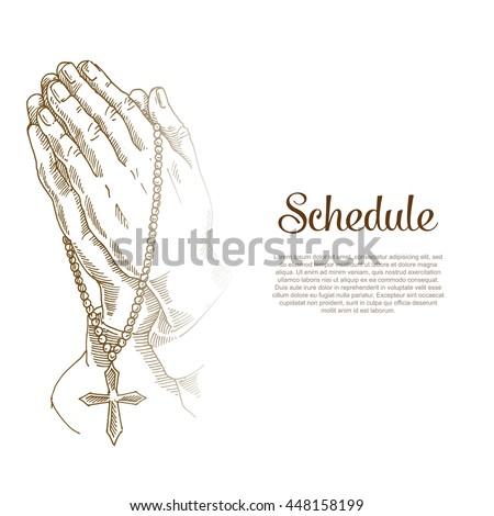 Prayer, praying hands, Jesus is my saviour, Religious poster of faith in God. Vector religions Jesus illustration. - stock vector