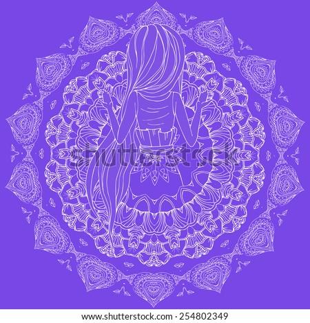 prayer,  praying hands,  worship,  women praying, girl,  mandala vector,  tibetan mandala,  kaleidoscope,  medallion, india   - stock vector
