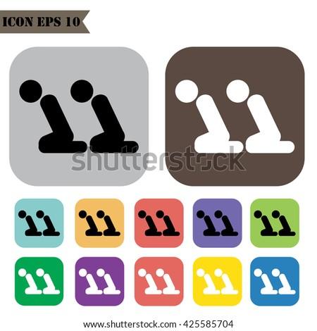 Prayer Room Symbol Icons Set Vector Illustration Stock Vector