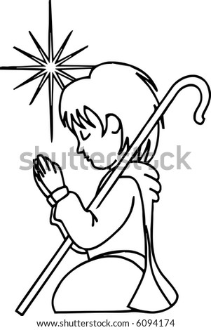 Praying Boy - stock vector