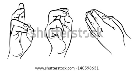 Praying hands. Hands in different interpretations. Vector illustration. Isolated on white background - stock vector