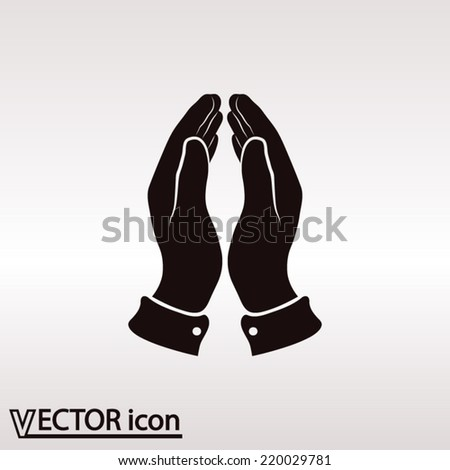 Praying hands icon, vector illustration. Flat design style - stock vector