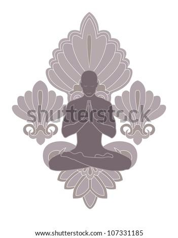 praying man of yoga on brown patten background - stock vector