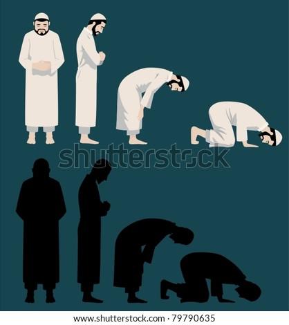 Praying Movements of A Muslim Man-vector - stock vector