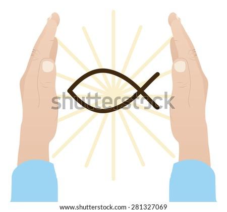 Praying to God design over white background, vector illustration - stock vector