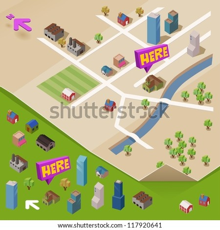 Pre assembled isometric map. Vector - stock vector