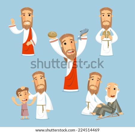 Preaching jesus cartoon illustrations - stock vector
