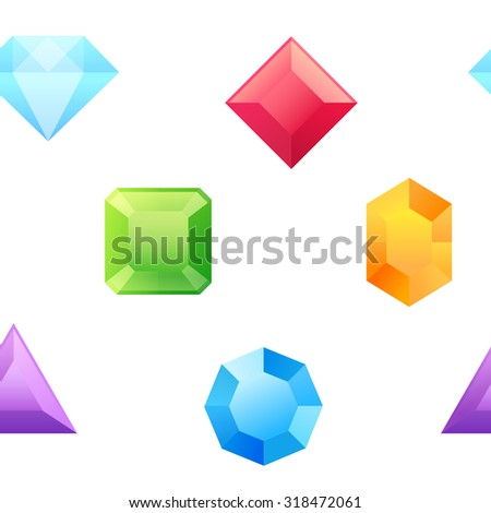 Precious gems seamless pattern with shiny treasures for web backgrounds, print and fabric - stock vector