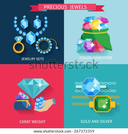 Precious jewels design concept set with gold and silver jewelry color gemstone flat icons isolated vector illustration - stock vector