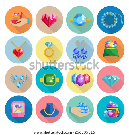 Precious jewels icons flat set with luxury earrings rings bracelets and necklaces isolated vector illustration - stock vector
