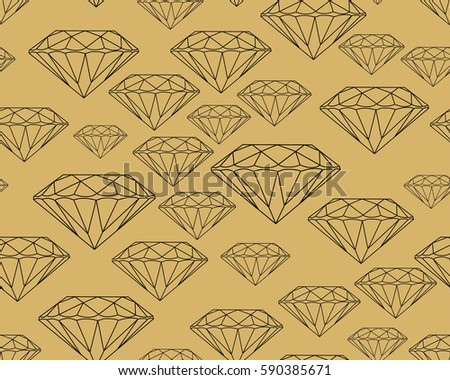 Precious Stones Black On Brown Background Seamless Vector Jewelry Pattern Wallpaper Gem Jewel