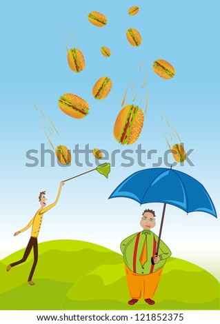Precipitation in the form of burgers - stock vector