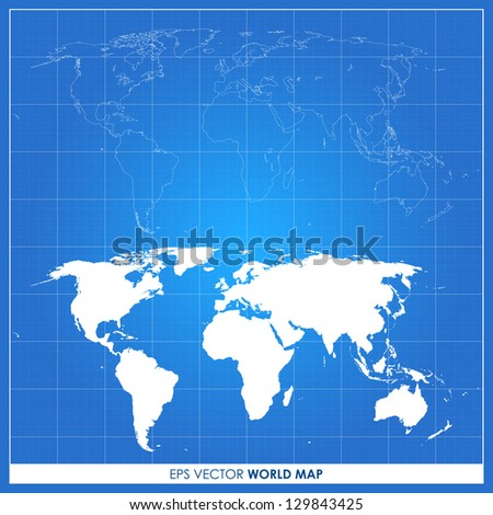 Precise world map vector on blueprint background - stock vector