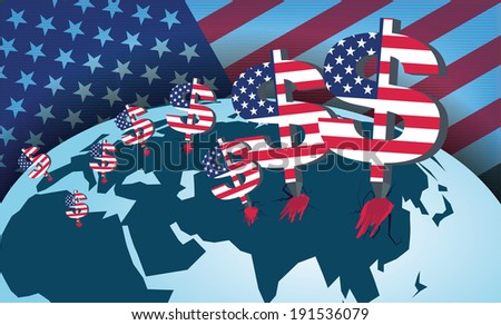 Predatory American capital. A total domination of America on the world in financial terms. - stock vector