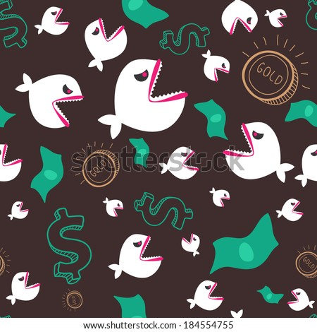 Predatory fishes, money and golden coins. Business metaphor. Seamless pattern - stock vector