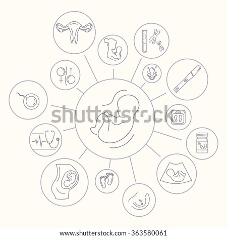Pregnancy and childbirth, obstetrics, gynecology line icons. Human embryo. Abstract fetus symbol. Breastfeeding. Health medical and care child. Diagnostic equipment, medical tools. Motherhood. - stock vector