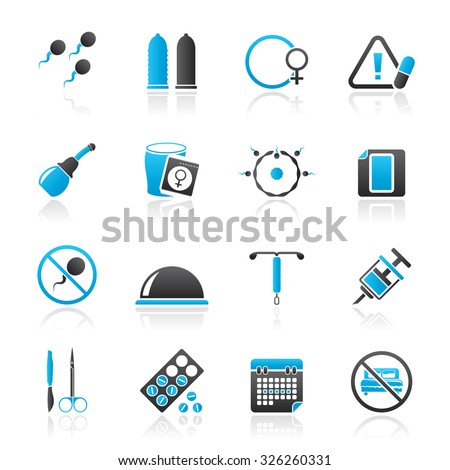 Pregnancy and contraception Icons - vector icon set - stock vector