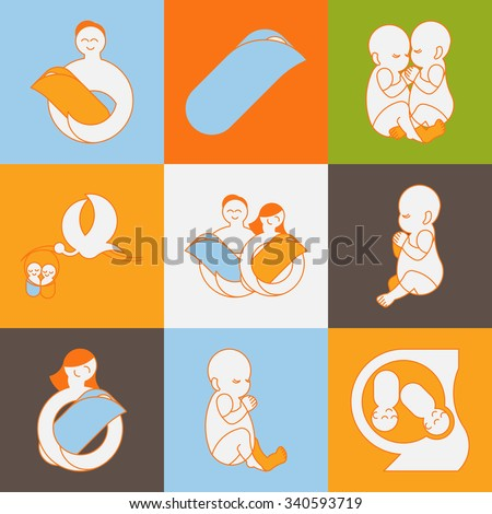 Pregnancy and motherhood vector. Prenatal child flat thin line maternity icons collection. Twins pregnancy vector logo design. Outline happy family stylized icon. - stock vector