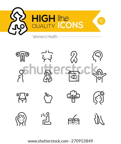 Pregnancy and women health line icons series - stock vector
