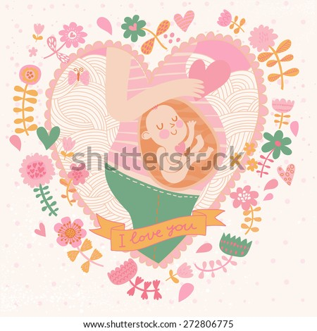 Pregnancy concept card in cartoon style. Baby and mother in love inside hearts and flowers. Pastel colored background - stock vector