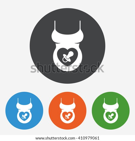 Pregnancy icon sign. Pregnancy icon flat design. Pregnancy icon for app. Pregnancy icon for logo. Pregnancy icon picture. Circle buttons with flat icon. Vector - stock vector