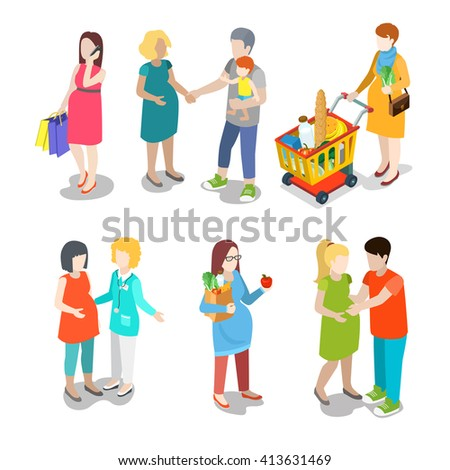 Pregnancy prenatal family urban young people parents parenting nursing babysitting babysitter couple flat web infographic concept vector icon set. Creative people collection. - stock vector