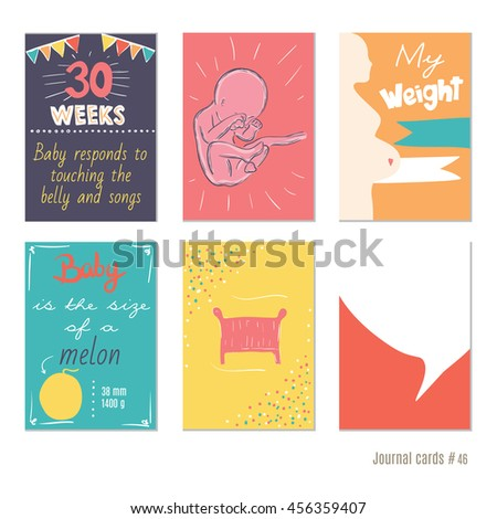 Pregnancy 30 weeks vector design templates stock vector for Pregnancy journal template free