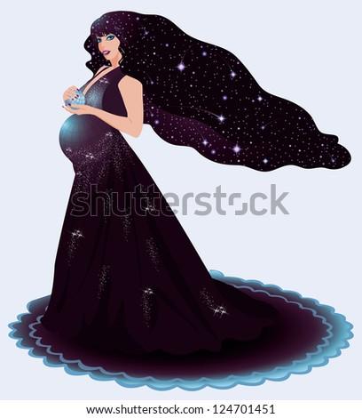 Pregnant cosmos woman, vector illustration - stock vector