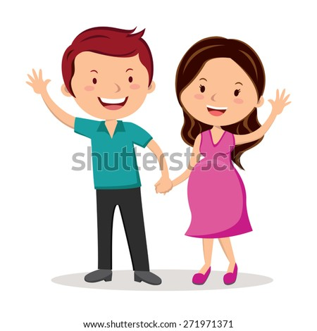 Pregnant couple gesturing. Happy couple expecting baby. - stock vector