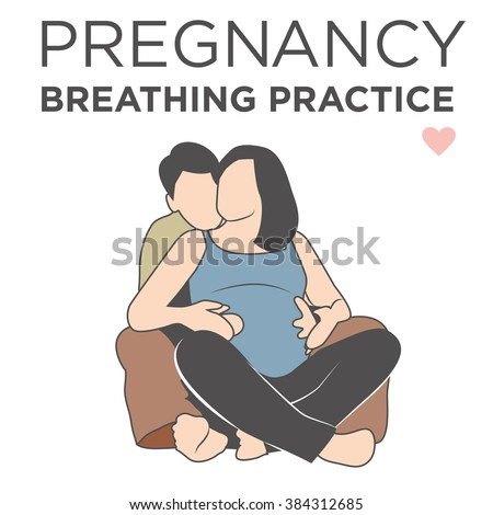 Pregnant Wife Learning Her Breathing Relaxation Techniques While being Helped by Her Husband  - stock vector