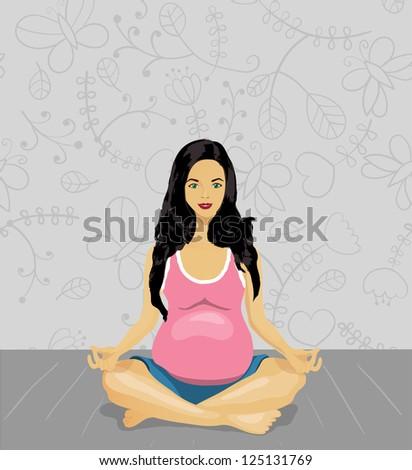 Pregnant woman doing yoga , vector illustration - stock vector