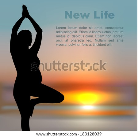 Pregnant woman in yoga position on sunset background - stock vector
