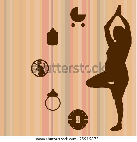 Pregnant woman in yoga position with icons - stock vector