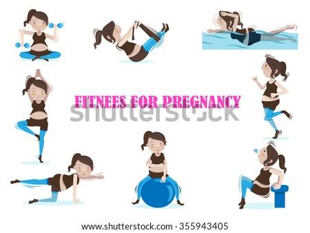 Pregnant woman is doing exercises set.vectors illustrations  - stock vector