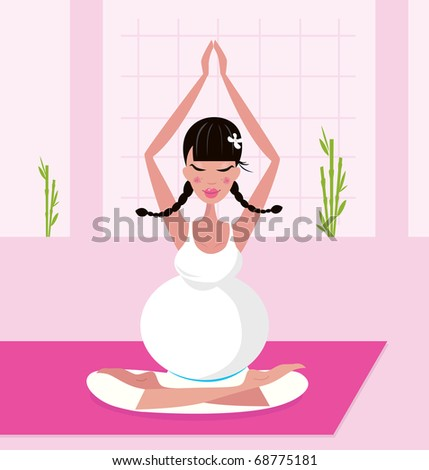 Pregnant woman practicing lotus asana sitting on pink yoga. Vector Illustration.